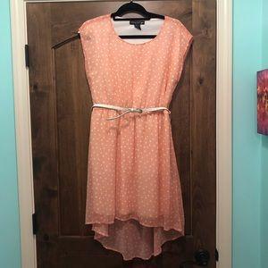 Pink Polka Dot High-Low Dress